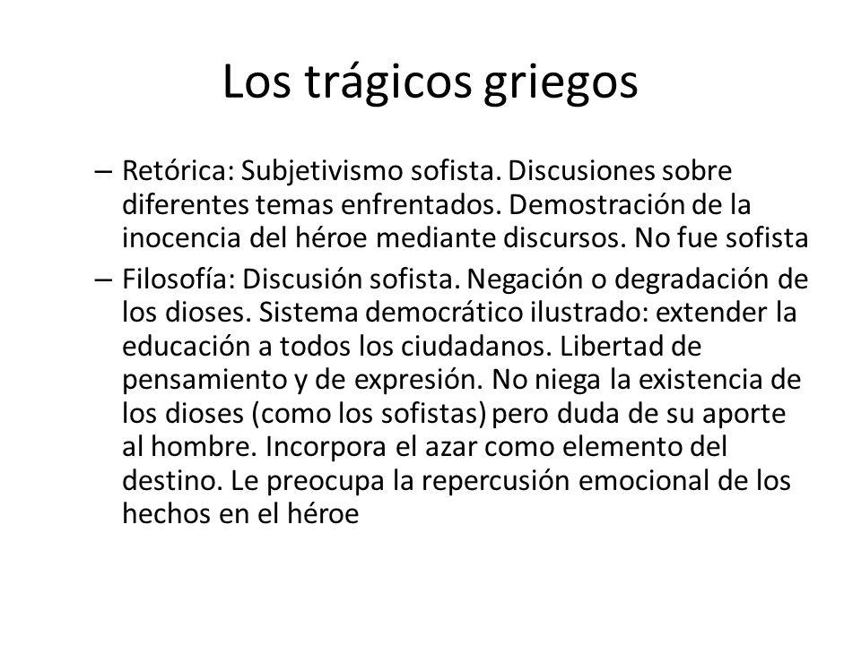 Los trágicos griegos – Retórica: Subjetivismo sofista. Discusiones sobre diferentes temas enfrentados. Demostración de la inocencia del héroe mediante