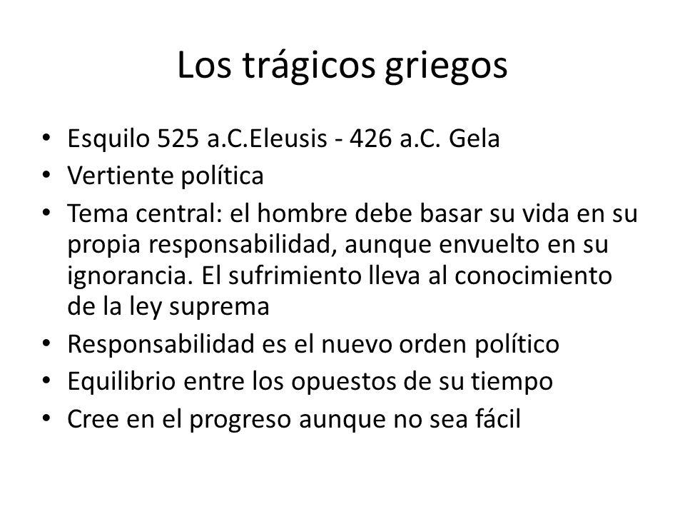 Los trágicos griegos Esquilo 525 a.C.Eleusis - 426 a.C. Gela Vertiente política Tema central: el hombre debe basar su vida en su propia responsabilida