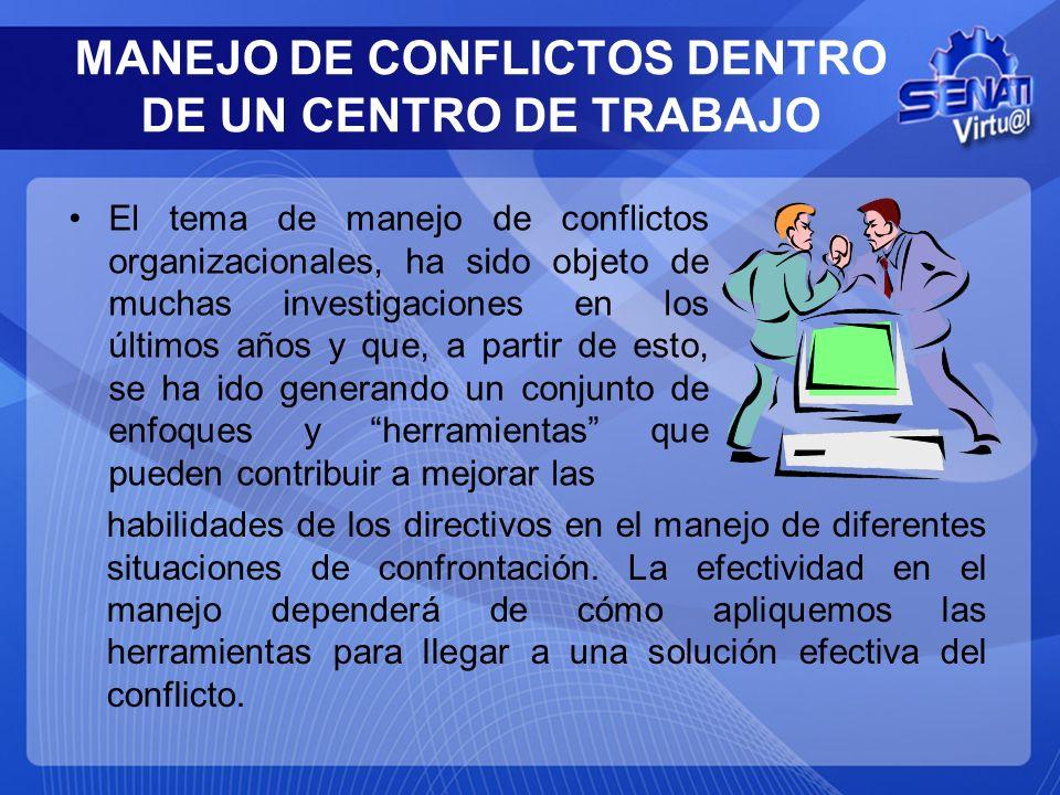El tema de manejo de conflictos organizacionales, ha sido objeto de muchas investigaciones en los últimos años y que, a partir de esto, se ha ido gene