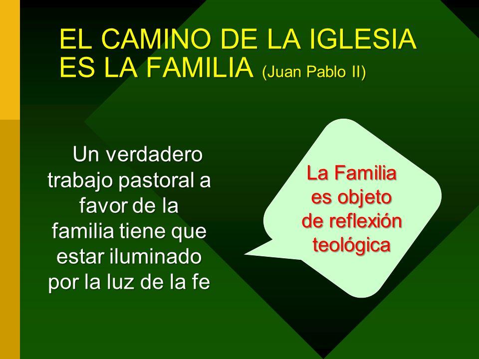 EL CAMINO DE LA IGLESIA ES LA FAMILIA (Juan Pablo II) Un verdadero trabajo pastoral a favor de la familia tiene que estar iluminado por la luz de la fe La Familia es objeto de reflexión teológica
