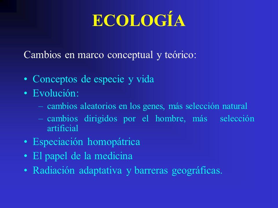 ECOLOGÍA Conceptos de especie y vida Evolución: –cambios aleatorios en los genes, más selección natural –cambios dirigidos por el hombre, más selecció