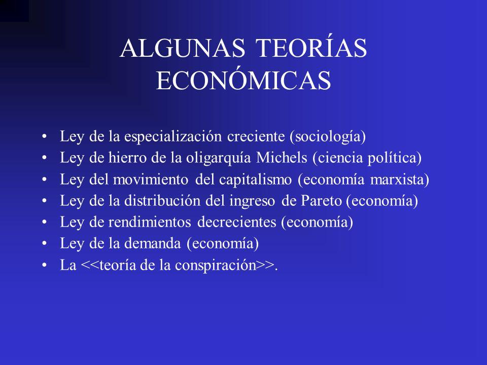 ALGUNAS TEORÍAS ECONÓMICAS Ley de la especialización creciente (sociología) Ley de hierro de la oligarquía Michels (ciencia política) Ley del movimien