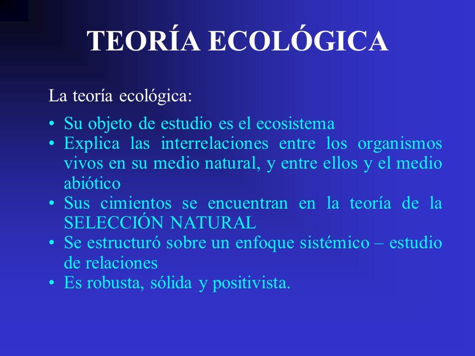 TEORÍA ECOLÓGICA Su objeto de estudio es el ecosistema Explica las interrelaciones entre los organismos vivos en su medio natural, y entre ellos y el