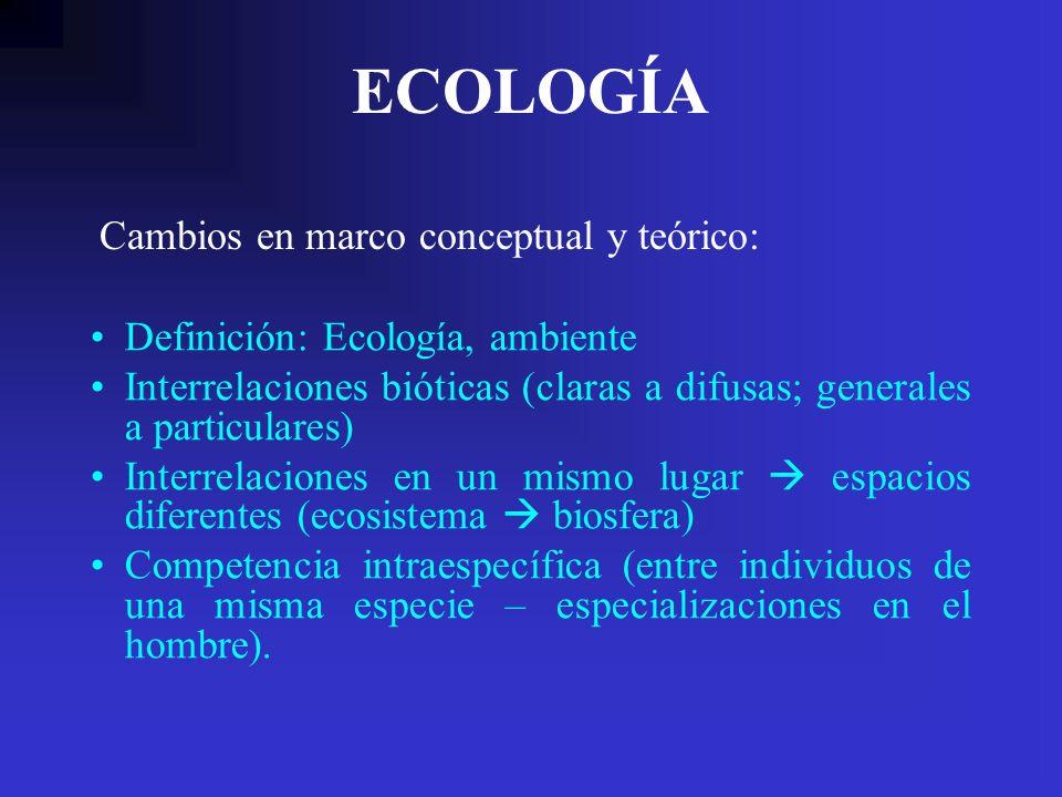 ECOLOGÍA Definición: Ecología, ambiente Interrelaciones bióticas (claras a difusas; generales a particulares) Interrelaciones en un mismo lugar espaci