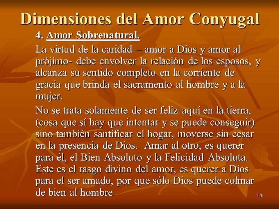 14 Dimensiones del Amor Conyugal 4. Amor Sobrenatural. La virtud de la caridad – amor a Dios y amor al prójimo- debe envolver la relación de los espos