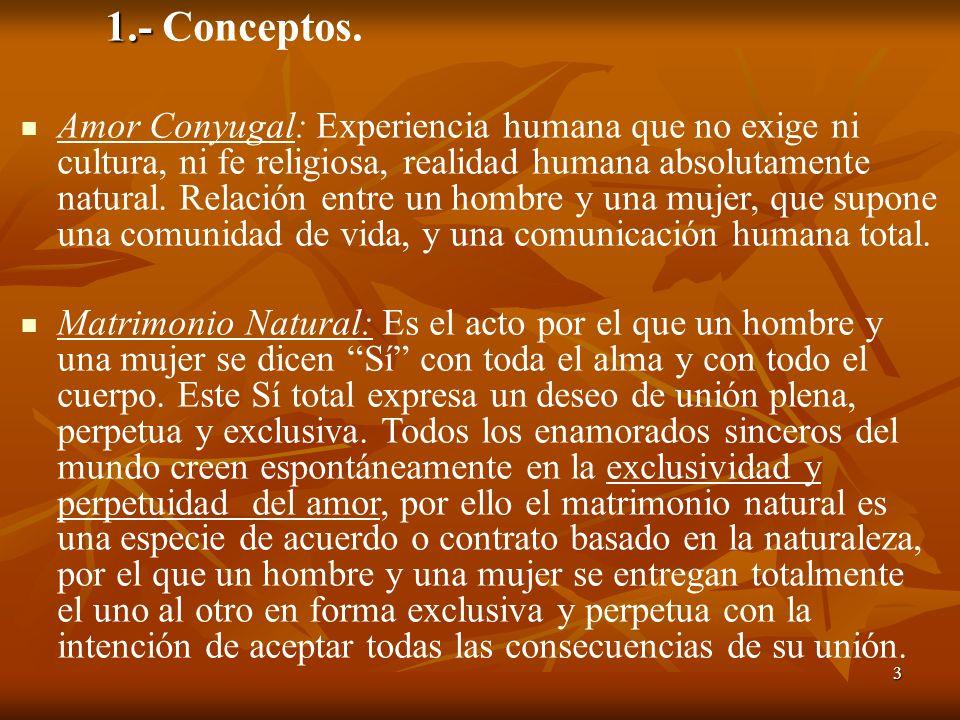 3 1.- 1.- Conceptos. Amor Conyugal: Experiencia humana que no exige ni cultura, ni fe religiosa, realidad humana absolutamente natural. Relación entre