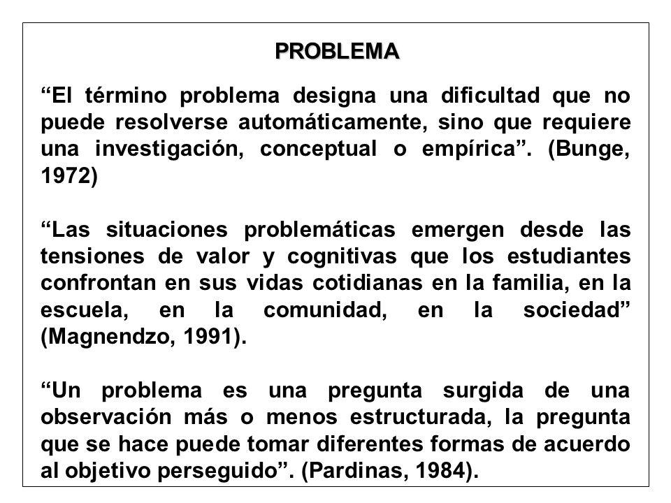 PROBLEMA PROBLEMA El término problema designa una dificultad que no puede resolverse automáticamente, sino que requiere una investigación, conceptual