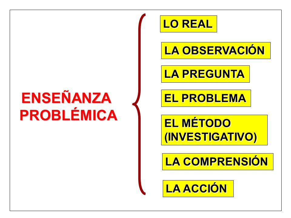 LA OBSERVACIÓN ENSEÑANZAPROBLÉMICA LO REAL LA PREGUNTA EL MÉTODO (INVESTIGATIVO) LA COMPRENSIÓN EL PROBLEMA LA ACCIÓN