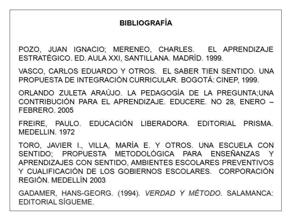 BIBLIOGRAFÍA POZO, JUAN IGNACIO; MERENEO, CHARLES. EL APRENDIZAJE ESTRATÉGICO. ED. AULA XXI, SANTILLANA. MADRÍD. 1999. VASCO, CARLOS EDUARDO Y OTROS.