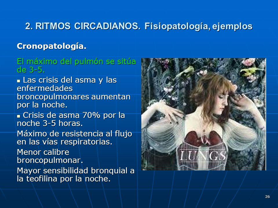 26 2.RITMOS CIRCADIANOS. Fisiopatología, ejemplos Cronopatología.