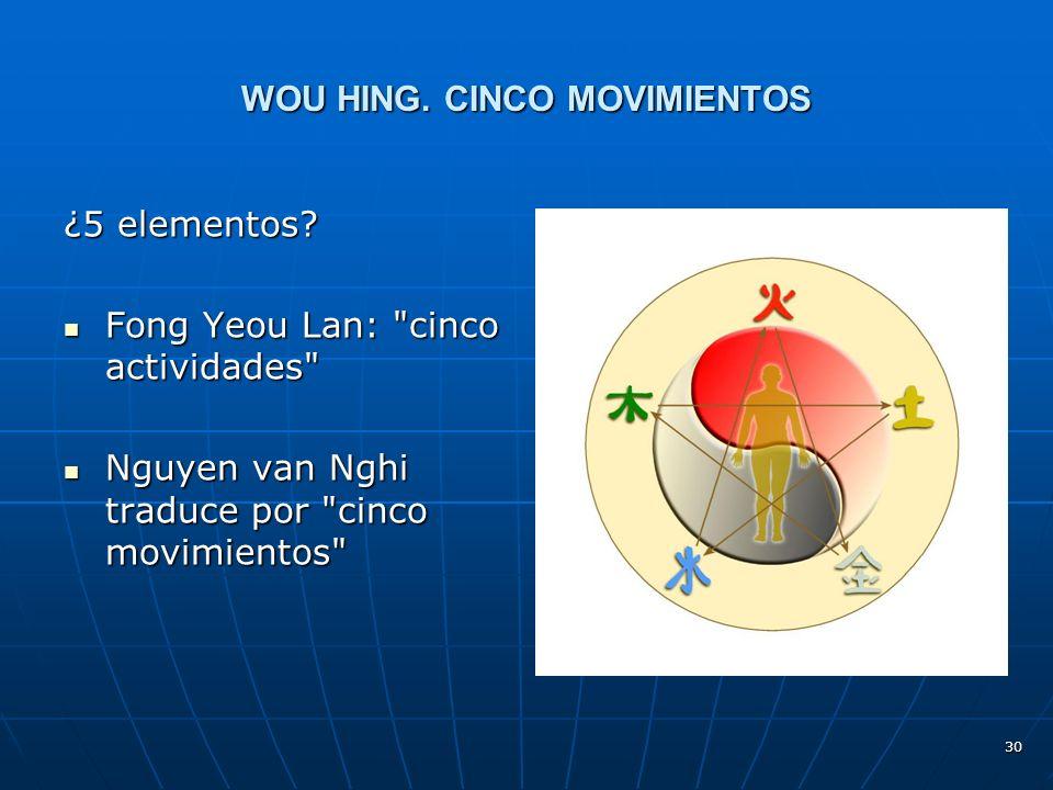 30 WOU HING.CINCO MOVIMIENTOS ¿5 elementos.