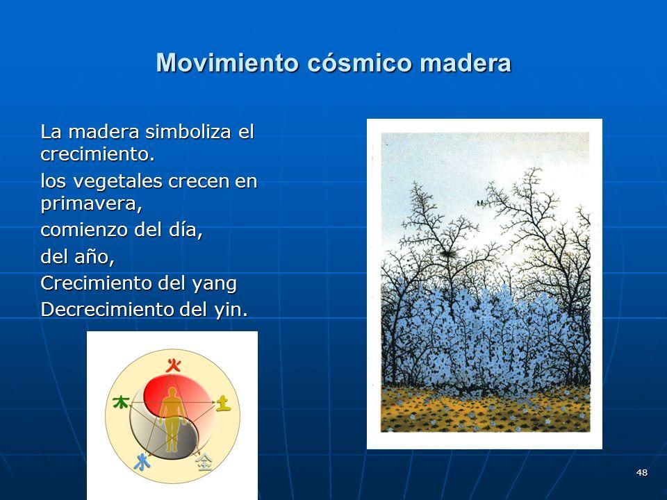48 Movimiento cósmico madera La madera simboliza el crecimiento.