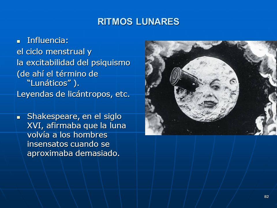 82 RITMOS LUNARES Influencia: Influencia: el ciclo menstrual y la excitabilidad del psiquismo (de ahí el término de Lunáticos ).