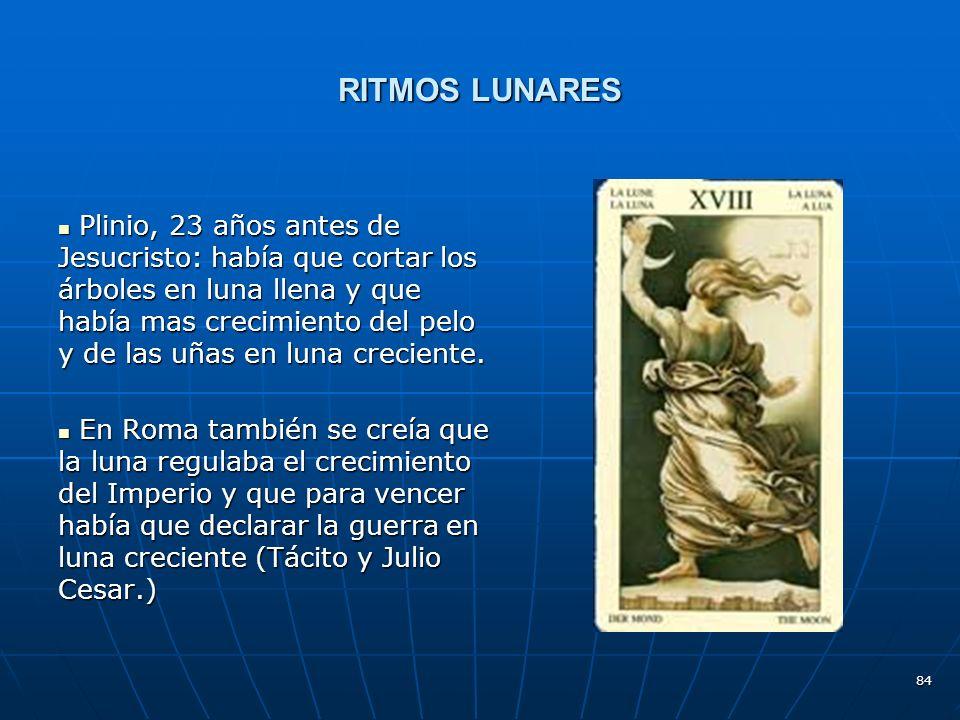 84 RITMOS LUNARES Plinio, 23 años antes de Jesucristo: había que cortar los árboles en luna llena y que había mas crecimiento del pelo y de las uñas en luna creciente.