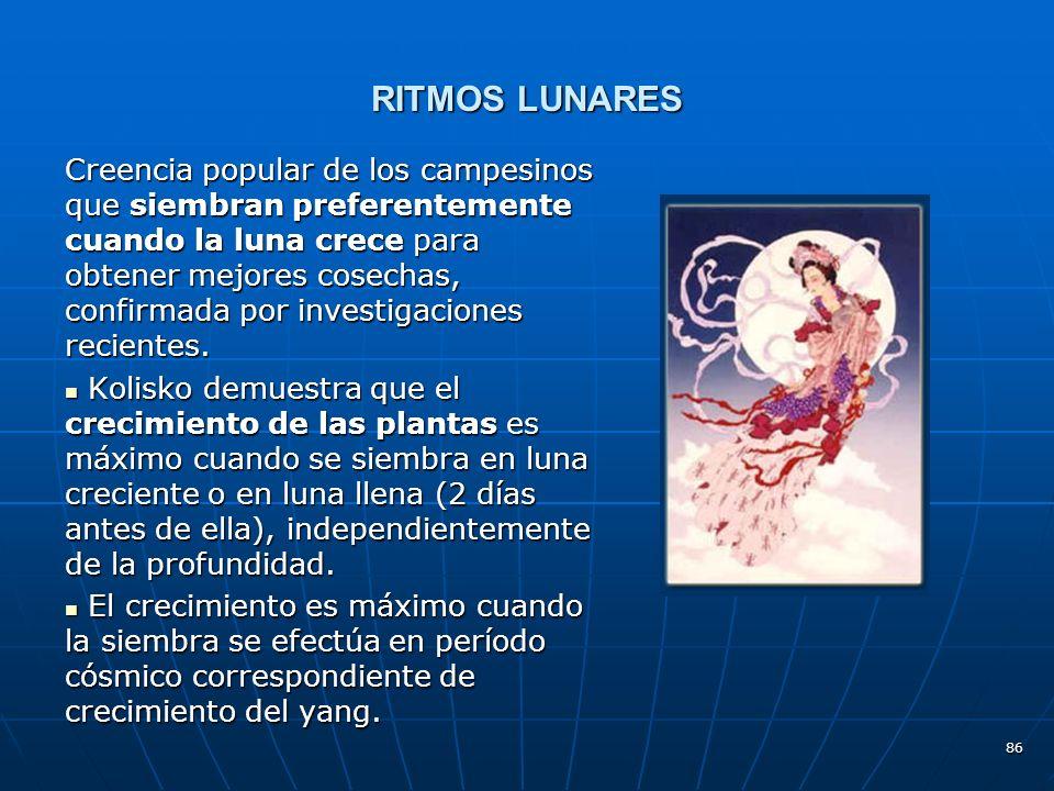 86 RITMOS LUNARES Creencia popular de los campesinos que siembran preferentemente cuando la luna crece para obtener mejores cosechas, confirmada por investigaciones recientes.
