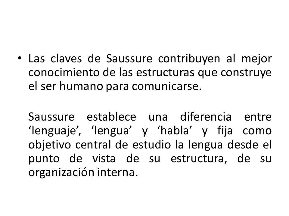 Las claves de Saussure contribuyen al mejor conocimiento de las estructuras que construye el ser humano para comunicarse. Saussure establece una difer