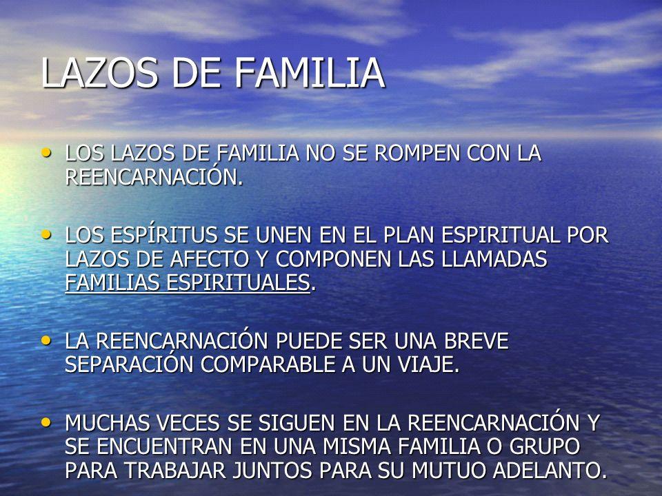 LAZOS DE FAMILIA LOS LAZOS DE FAMILIA NO SE ROMPEN CON LA REENCARNACIÓN. LOS LAZOS DE FAMILIA NO SE ROMPEN CON LA REENCARNACIÓN. LOS ESPÍRITUS SE UNEN