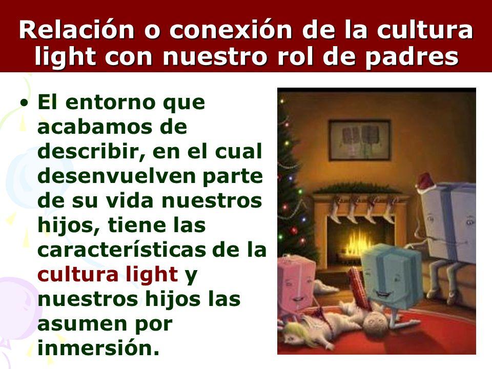 14 Relación o conexión de la cultura light con nuestro rol de padres El entorno que acabamos de describir, en el cual desenvuelven parte de su vida nu