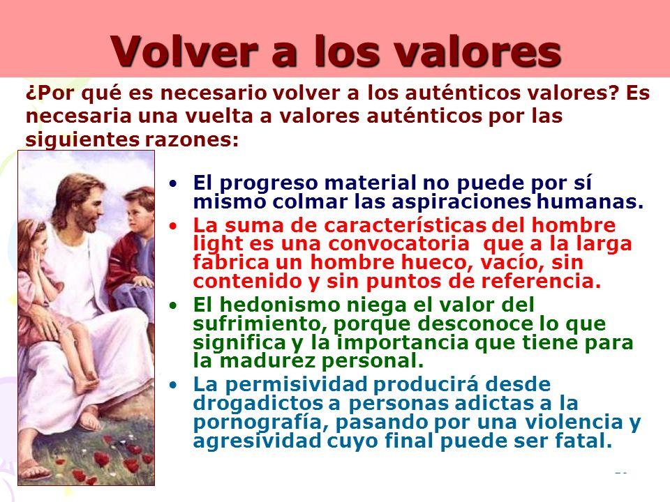 19 Volver a los valores El progreso material no puede por sí mismo colmar las aspiraciones humanas. La suma de características del hombre light es una