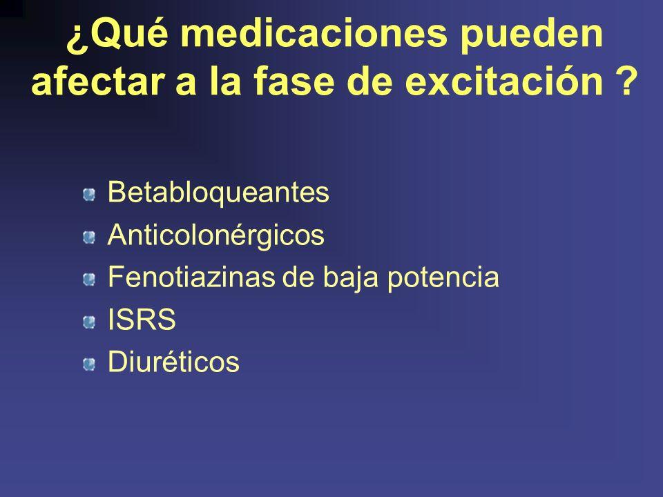 ¿Qué medicaciones pueden afectar a la fase de excitación .