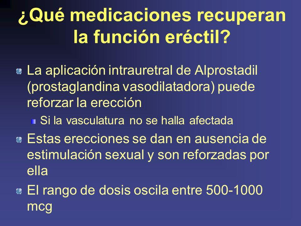 ¿Qué medicaciones recuperan la función eréctil.