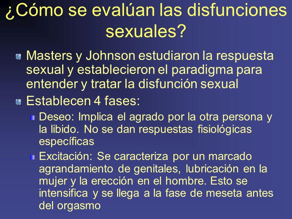 ¿Cómo se evalúan las disfunciones sexuales.