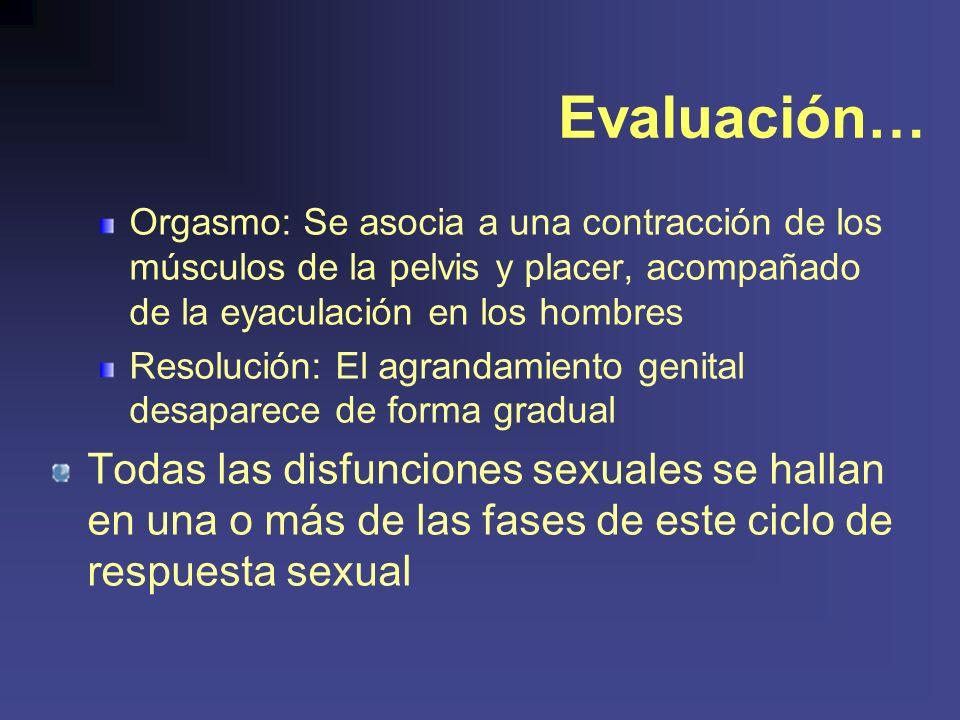 Evaluación… Orgasmo: Se asocia a una contracción de los músculos de la pelvis y placer, acompañado de la eyaculación en los hombres Resolución: El agrandamiento genital desaparece de forma gradual Todas las disfunciones sexuales se hallan en una o más de las fases de este ciclo de respuesta sexual