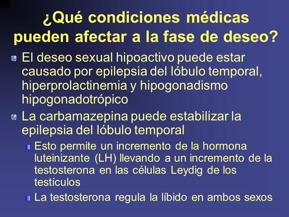 ¿Qué condiciones médicas pueden afectar a la fase de deseo.