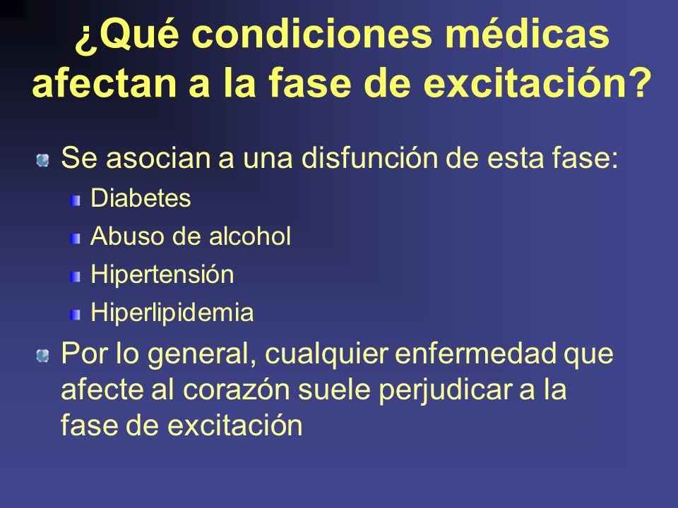 ¿Qué condiciones médicas afectan a la fase de excitación.