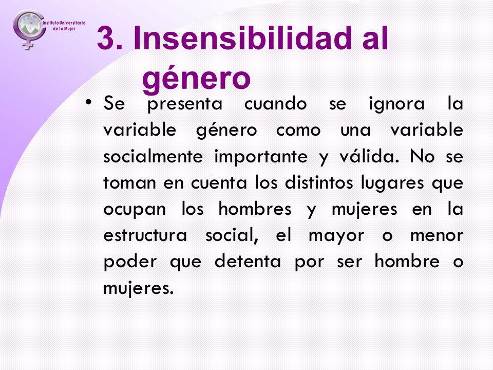 3. Insensibilidad al género Se presenta cuando se ignora la variable género como una variable socialmente importante y válida. No se toman en cuenta l