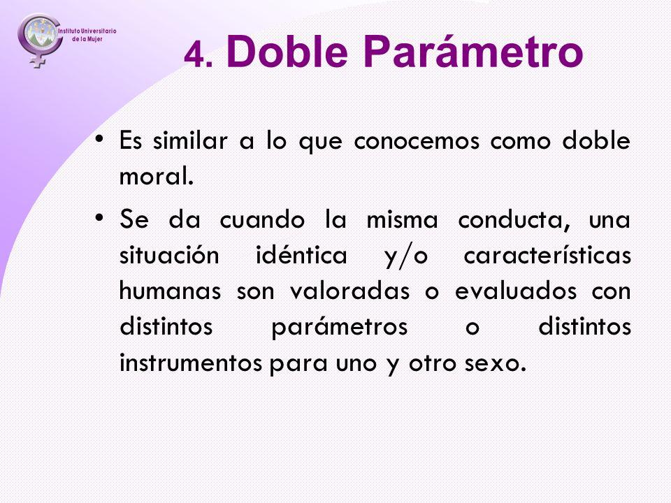4. Doble Parámetro Es similar a lo que conocemos como doble moral. Se da cuando la misma conducta, una situación idéntica y/o características humanas