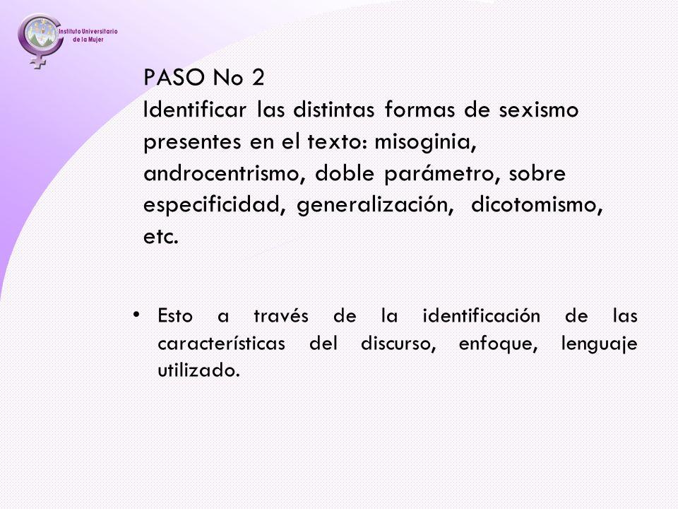 PASO No 2 Identificar las distintas formas de sexismo presentes en el texto: misoginia, androcentrismo, doble parámetro, sobre especificidad, generali