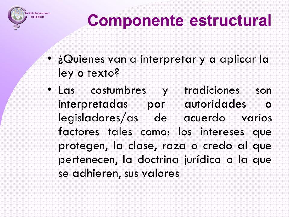 Componente estructural ¿Quienes van a interpretar y a aplicar la ley o texto? Las costumbres y tradiciones son interpretadas por autoridades o legisla