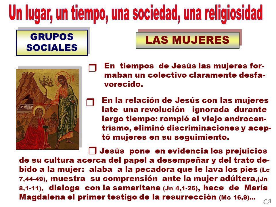 GRUPOS SOCIALES LAS MUJERES Jesús pone en evidencia los prejuicios de su cultura acerca del papel a desempeñar y del trato de- bido a la mujer: alaba