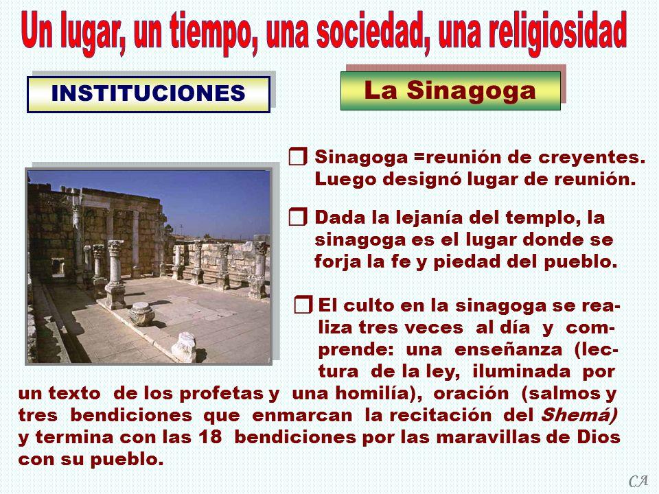 La Sinagoga INSTITUCIONES El culto en la sinagoga se rea- liza tres veces al día y com- prende: una enseñanza (lec- tura de la ley, iluminada por un t