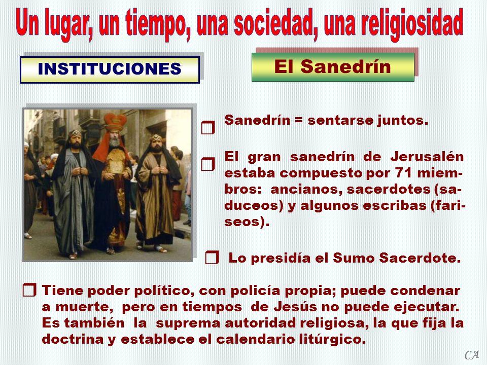 El Sanedrín INSTITUCIONES Sanedrín = sentarse juntos. El gran sanedrín de Jerusalén estaba compuesto por 71 miem- bros: ancianos, sacerdotes (sa- duce