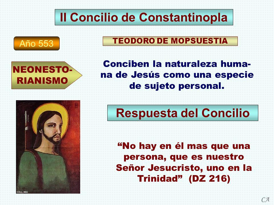 Año 553 NEONESTO- RIANISMO TEODORO DE MOPSUESTIA Conciben la naturaleza huma- na de Jesús como una especie de sujeto personal. II Concilio de Constant