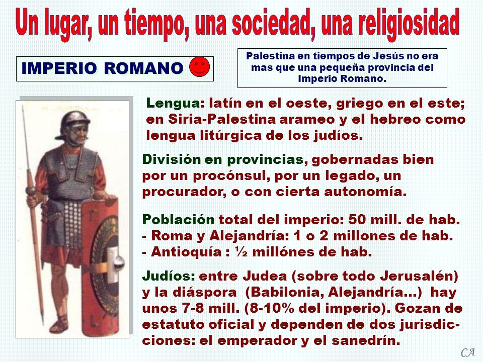 IMPERIO ROMANO Palestina en tiempos de Jesús no era mas que una pequeña provincia del Imperio Romano. Lengua: latín en el oeste, griego en el este; en