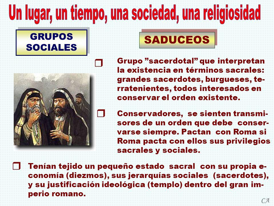 GRUPOS SOCIALES SADUCEOS Grupo sacerdotal que interpretan la existencia en términos sacrales: grandes sacerdotes, burgueses, te- rratenientes, todos i