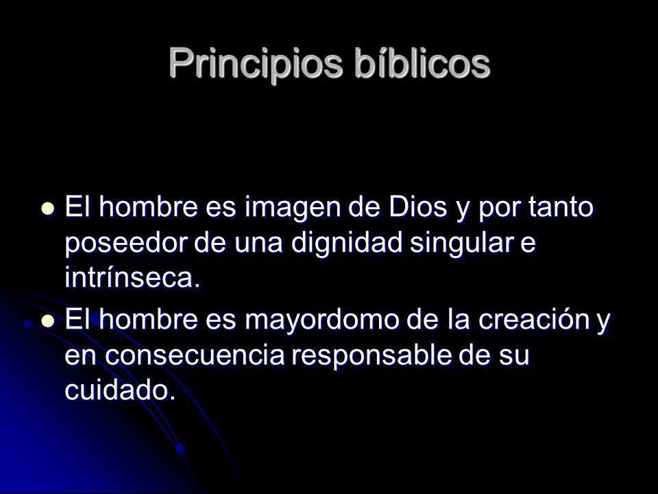 Principios bíblicos El hombre es imagen de Dios y por tanto poseedor de una dignidad singular e intrínseca. El hombre es imagen de Dios y por tanto po