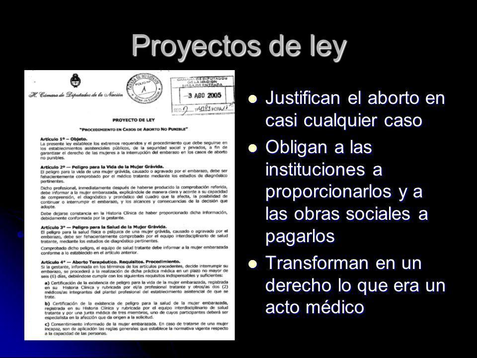 Proyectos de ley Justifican el aborto en casi cualquier caso Justifican el aborto en casi cualquier caso Obligan a las instituciones a proporcionarlos