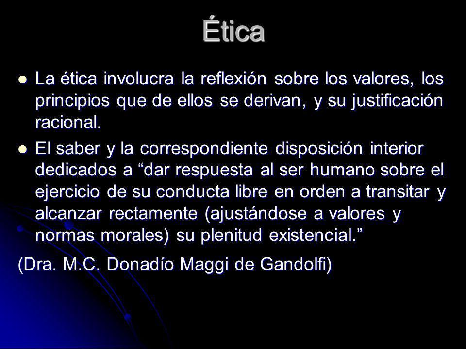 Ética La ética involucra la reflexión sobre los valores, los principios que de ellos se derivan, y su justificación racional. La ética involucra la re