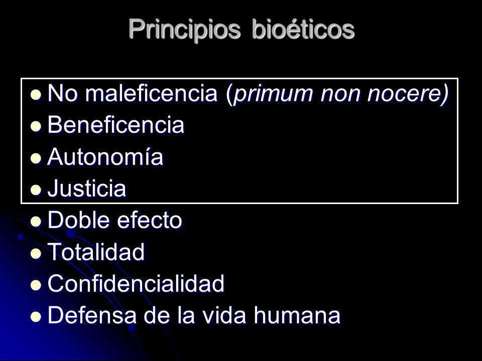Principios bioéticos No maleficencia (primum non nocere) No maleficencia (primum non nocere) Beneficencia Beneficencia Autonomía Autonomía Justicia Ju