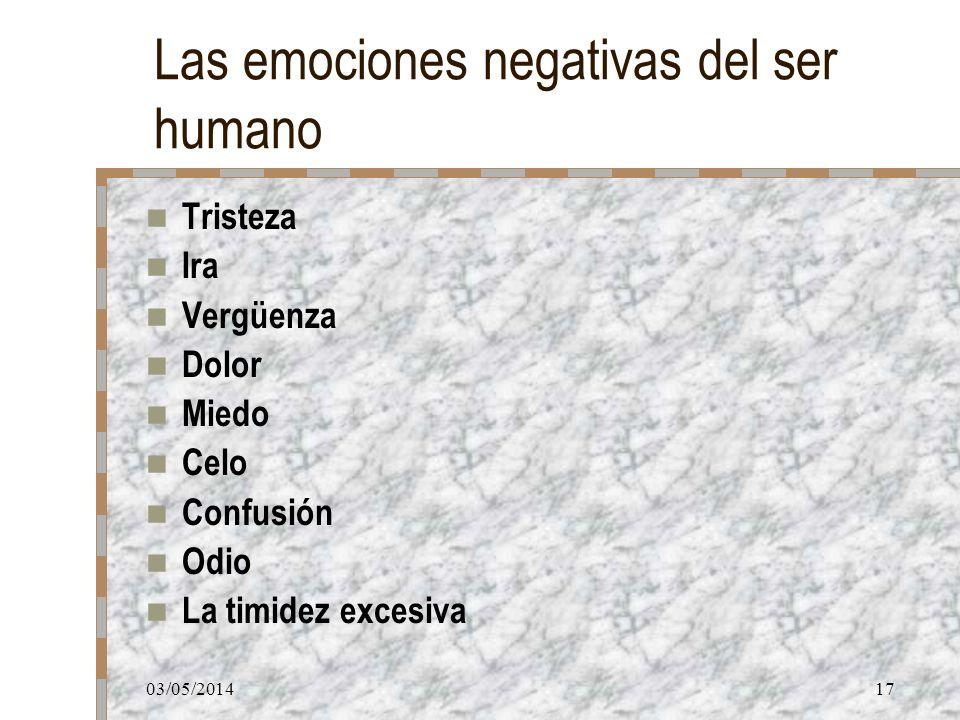 03/05/201417 Las emociones negativas del ser humano Tristeza Ira Vergüenza Dolor Miedo Celo Confusión Odio La timidez excesiva