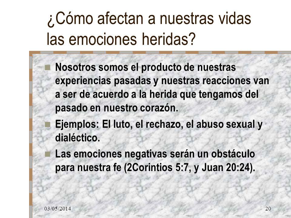 03/05/201420 ¿Cómo afectan a nuestras vidas las emociones heridas? Nosotros somos el producto de nuestras experiencias pasadas y nuestras reacciones v