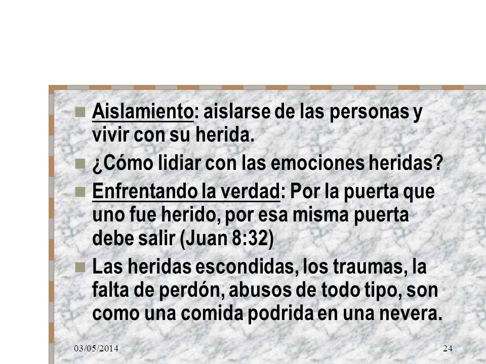 03/05/201424 Aislamiento: aislarse de las personas y vivir con su herida. ¿Cómo lidiar con las emociones heridas? Enfrentando la verdad: Por la puerta