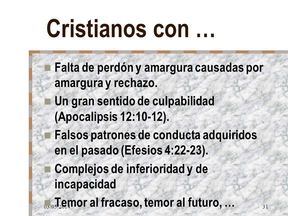 03/05/201431 Cristianos con … Falta de perdón y amargura causadas por amargura y rechazo. Un gran sentido de culpabilidad (Apocalipsis 12:10-12). Fals