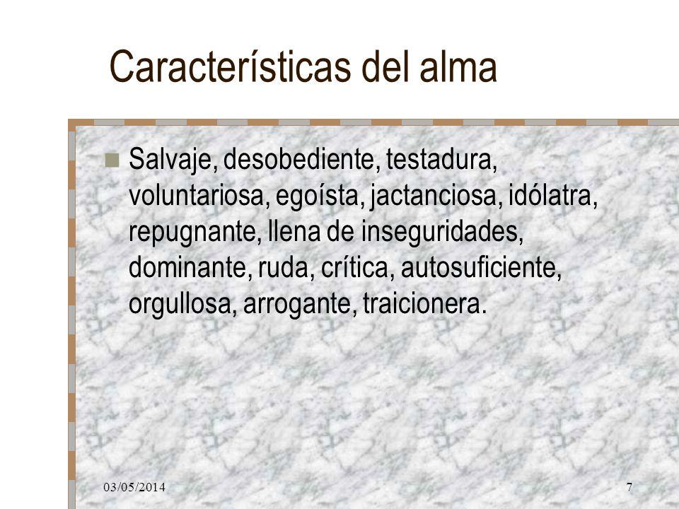 03/05/20147 Características del alma Salvaje, desobediente, testadura, voluntariosa, egoísta, jactanciosa, idólatra, repugnante, llena de inseguridade