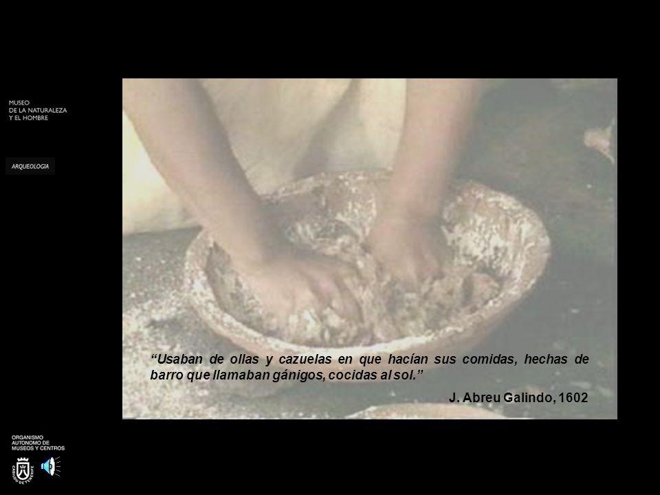 Usaban de ollas y cazuelas en que hacían sus comidas, hechas de barro que llamaban gánigos, cocidas al sol. J. Abreu Galindo, 1602