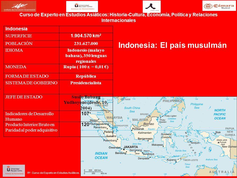 R 3. Curso de Experto en Estudios Asiáticos. Indonesia: El país musulmán Indonesia SUPERFICIE 1.904.570 km 2 POBLACIÓN231.627.000 IDIOMAIndonesio (mal